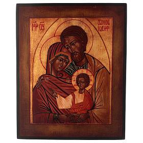 Icona Sacra Famiglia dipinta a mano 24x20 cm stile russa antichizzata s1
