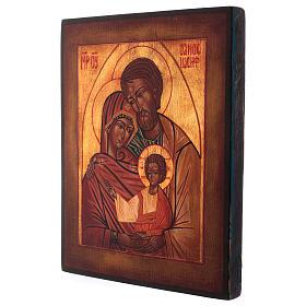Icona Sacra Famiglia dipinta a mano 24x20 cm stile russa antichizzata s3