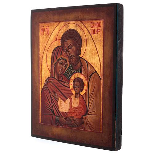 Icona Sacra Famiglia dipinta a mano 24x20 cm stile russa antichizzata 3