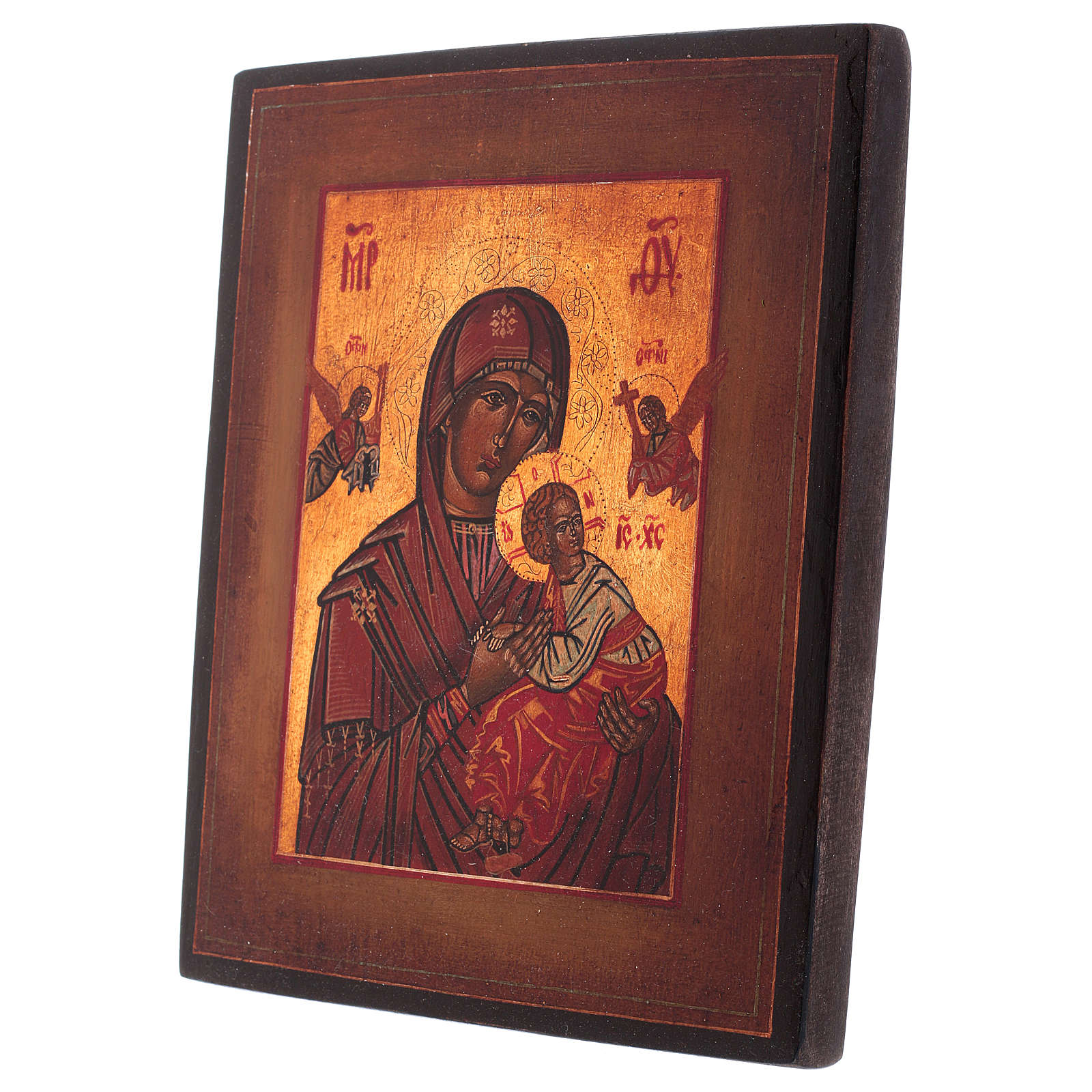 Icône style russe ancien Notre-Dame du Perpétuel Secours bois tilleul 20x16 cm style vieillie 4