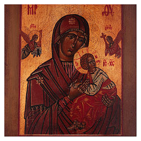 Icône style russe ancien Notre-Dame du Perpétuel Secours bois tilleul 20x16 cm style vieillie s2