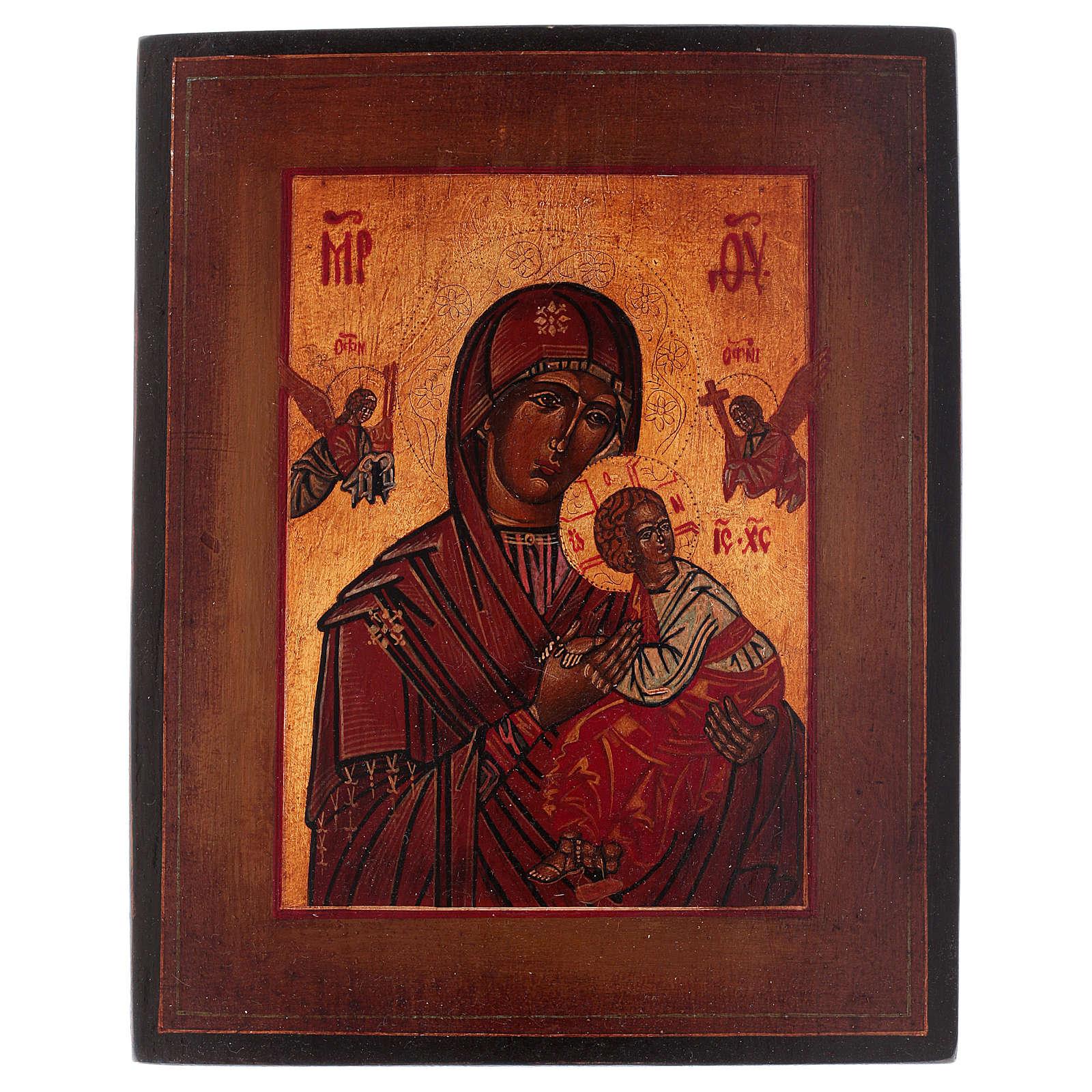 Icona stile russo antico Vergine Perpetuo Soccorso legno tiglio dipinta 18x14 cm 4