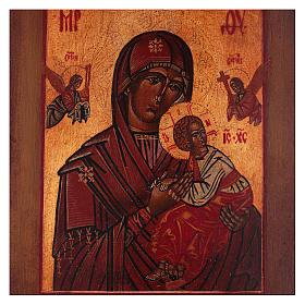 Icona stile russo antico Vergine Perpetuo Soccorso legno tiglio dipinta 18x14 cm s2