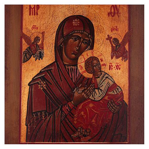 Icona stile russo antico Vergine Perpetuo Soccorso legno tiglio dipinta 18x14 cm 2