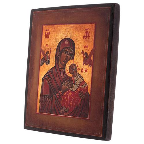 Icona stile russo antico Vergine Perpetuo Soccorso legno tiglio dipinta 18x14 cm 3