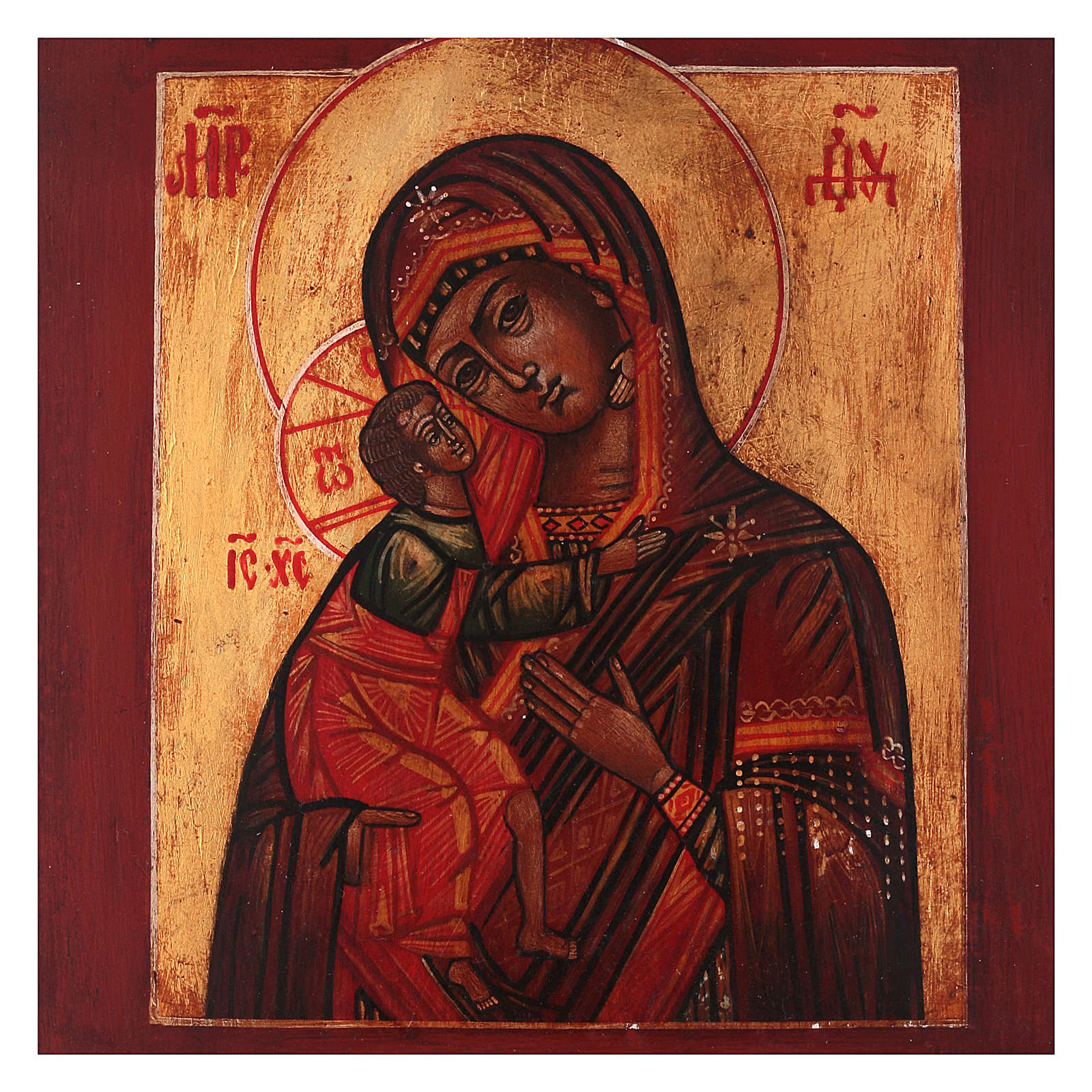 Icône style russe Vierge Feodorovskaya bois tilleul 18x14 cm peinte vieillie 4
