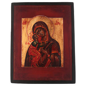 Icône style russe Vierge Feodorovskaya bois tilleul 18x14 cm peinte vieillie s1