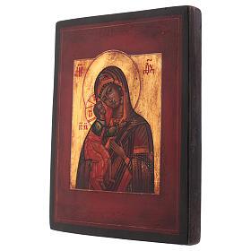 Icône style russe Vierge Feodorovskaya bois tilleul 18x14 cm peinte vieillie s3