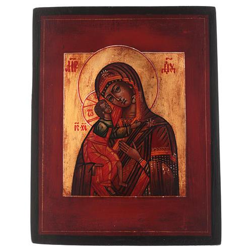 Icône style russe Vierge Feodorovskaya bois tilleul 18x14 cm peinte vieillie 1