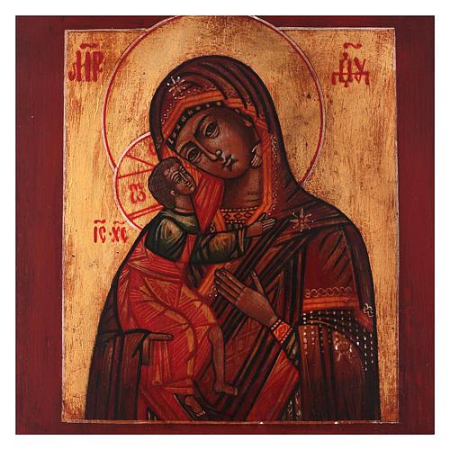 Icône style russe Vierge Feodorovskaya bois tilleul 18x14 cm peinte vieillie 2