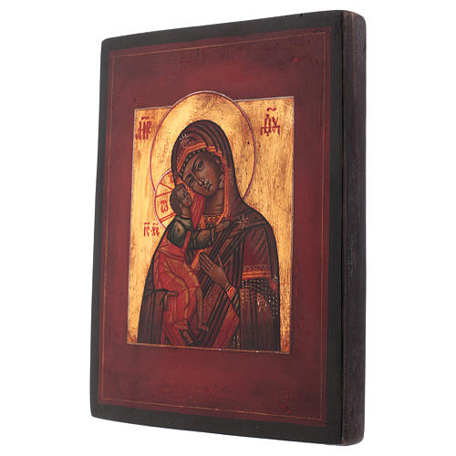 Icône style russe Vierge Feodorovskaya bois tilleul 18x14 cm peinte vieillie 3