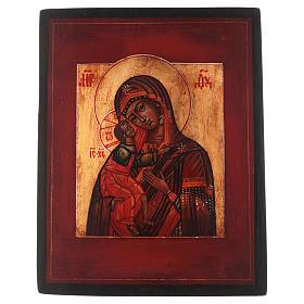 Icona stile russo Vergine di Fiodor legno tiglio 18x14 cm dipinta antichizzata s1