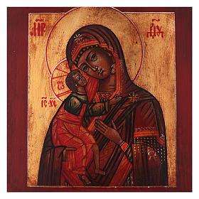 Icona stile russo Vergine di Fiodor legno tiglio 18x14 cm dipinta antichizzata s2