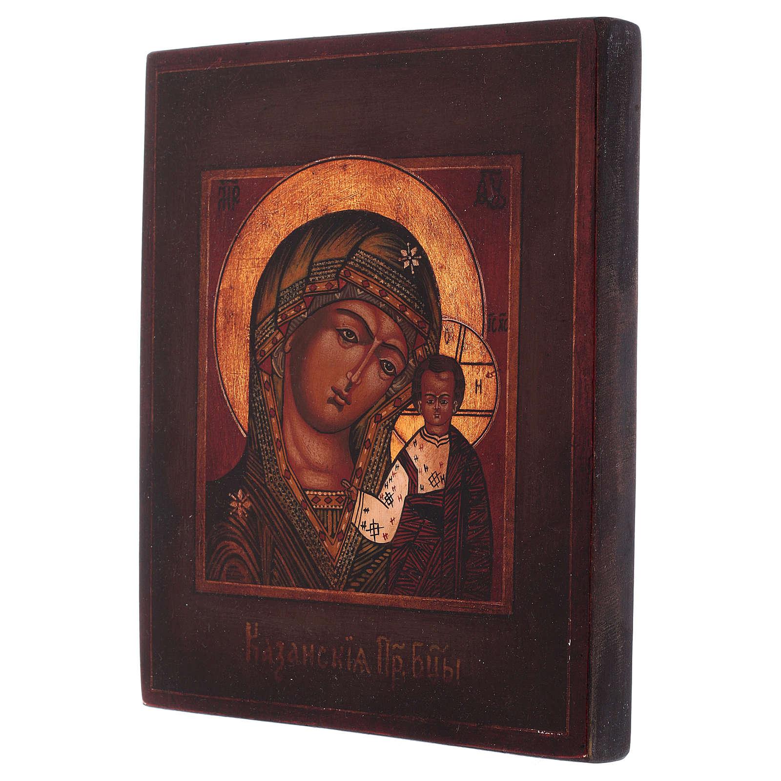 Icône Vierge de Kazan bois tilleul 18x14 cm style russe peinte vieillie 4