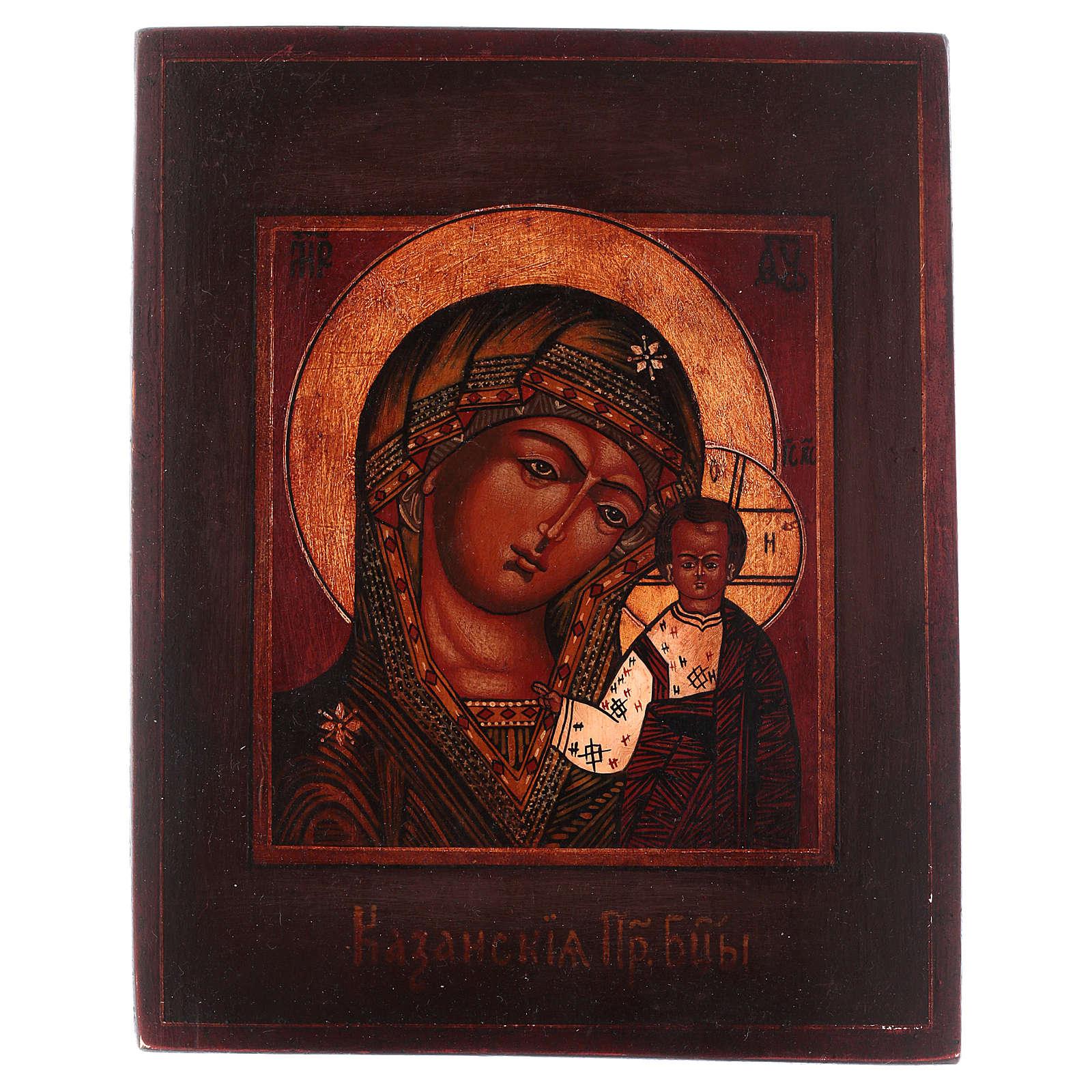 Icona Madonna di Kazan legno tiglio 18x14 cm Russia dipinta antichizzata 4