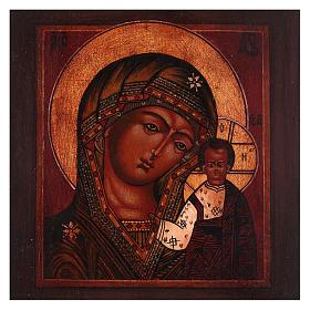 Icona Madonna di Kazan legno tiglio 18x14 cm Russia dipinta antichizzata s2