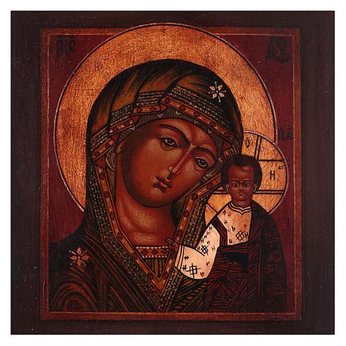 Icona Madonna di Kazan legno tiglio 18x14 cm Russia dipinta antichizzata 2