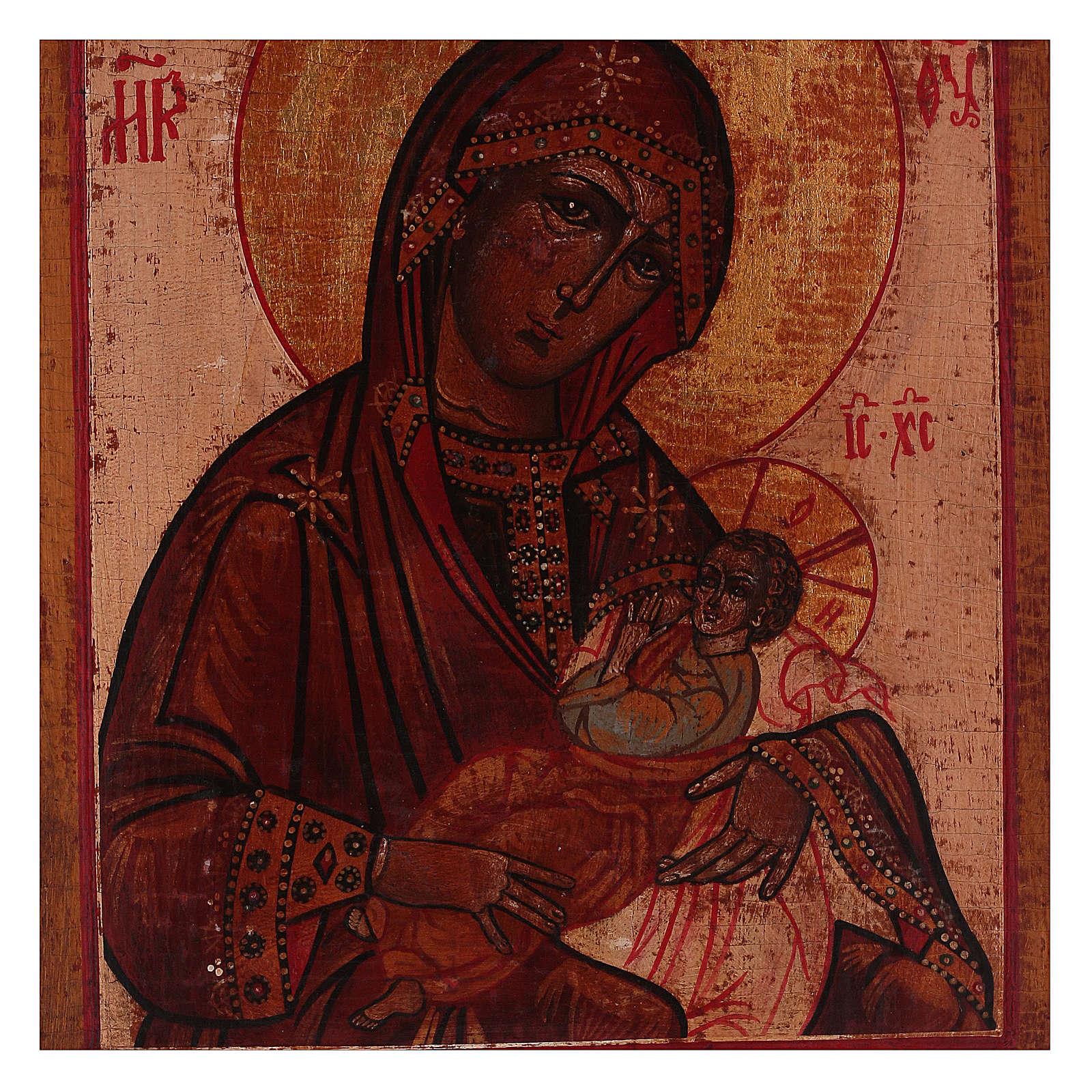 Icône style russe Vierge allaitant peinte vieillie 18x14 cm 4