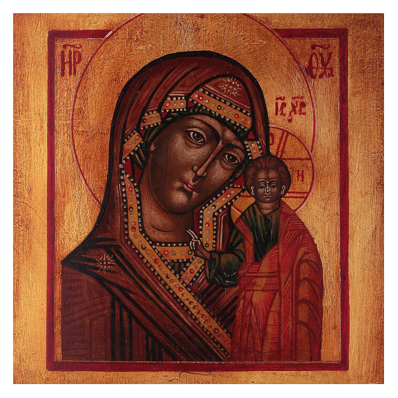 Icona Vergine di Kazan dipinta legno tiglio 18x14 cm stile russo antichizzata 4