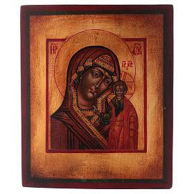 Icona Vergine di Kazan dipinta legno tiglio 18x14 cm stile russo antichizzata s1