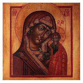 Icona Vergine di Kazan dipinta legno tiglio 18x14 cm stile russo antichizzata s2