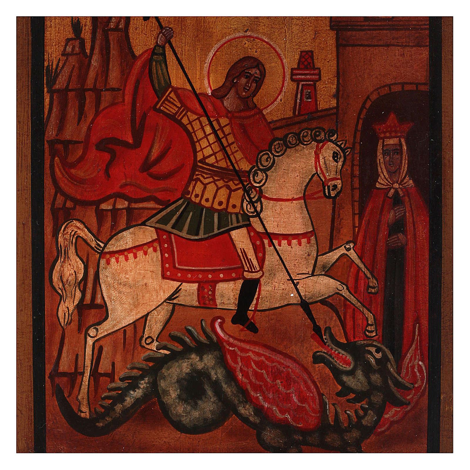 Icône Saint Georges bois de tilleul 18x14 cm style russe vieillie 4