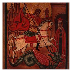 Icône Saint Georges bois de tilleul 18x14 cm style russe vieillie s2