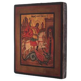 Icône Saint Georges bois de tilleul 18x14 cm style russe vieillie s3