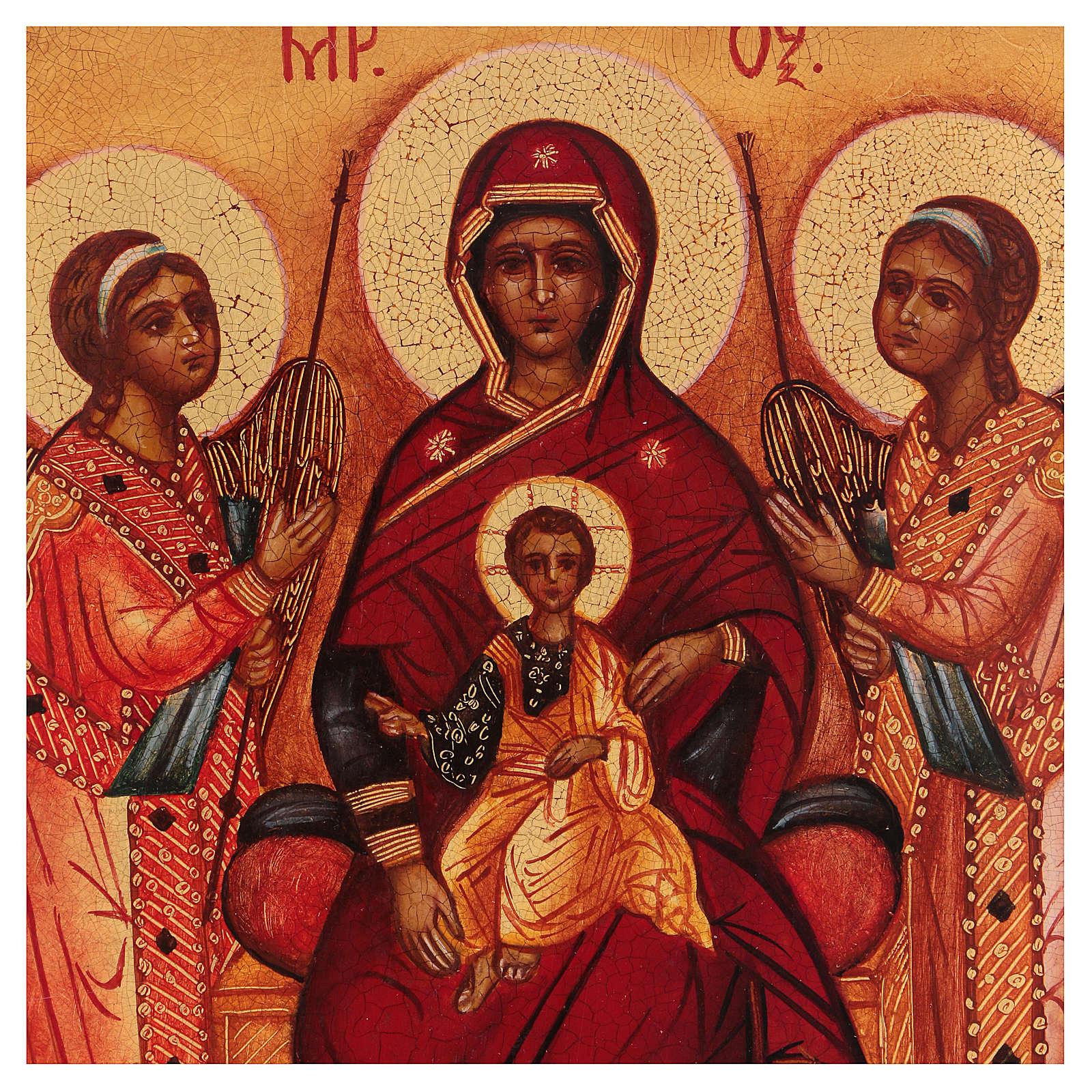 Icona russa dipinta Madonna tra gli angeli 14x10 cm 4