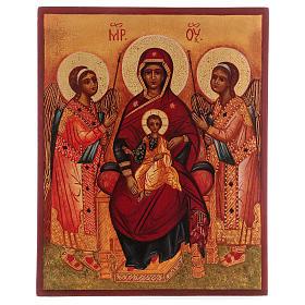 Icona russa dipinta Madonna tra gli angeli 14x10 cm s1