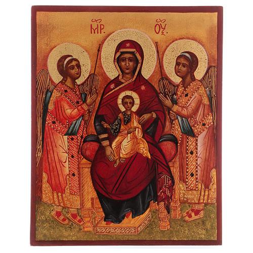 Icona russa dipinta Madonna tra gli angeli 14x10 cm 1