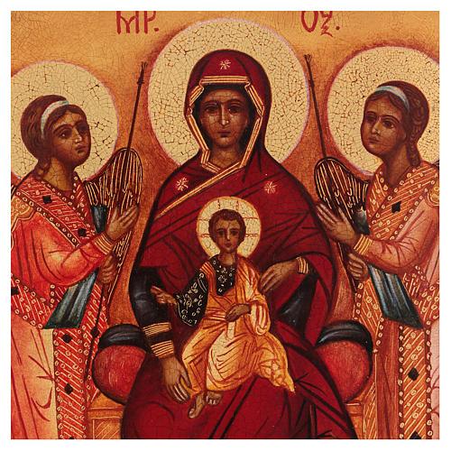 Icona russa dipinta Madonna tra gli angeli 14x10 cm 2