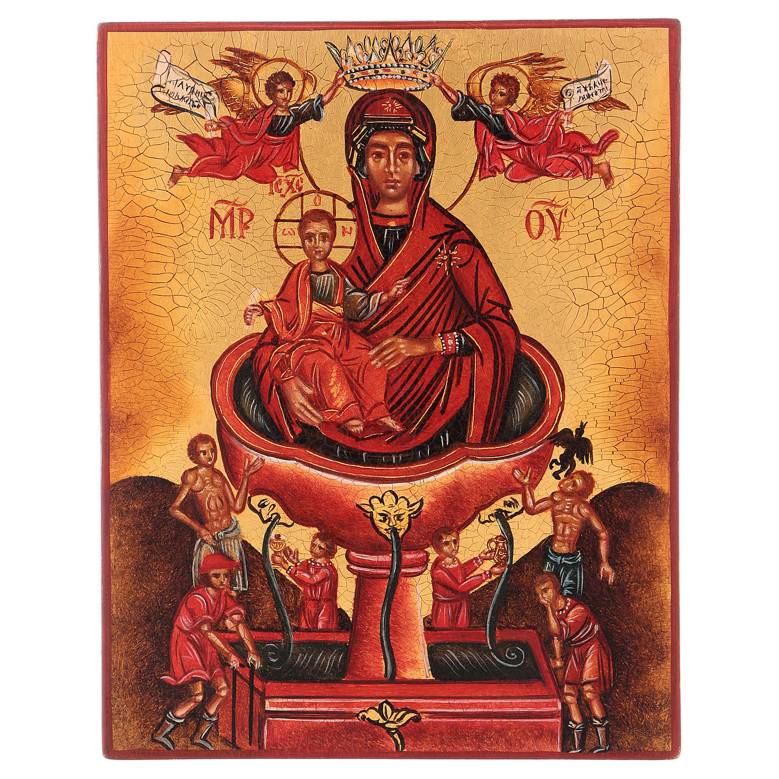 Icona russa dipinta Vergine fonte viva 14x10 cm 4
