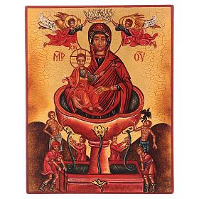 Ikona rosyjska malowana Najśw. Dziewica żywe źródło 14x10 cm s1