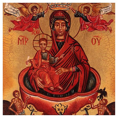 Ikona rosyjska malowana Najśw. Dziewica żywe źródło 14x10 cm 2