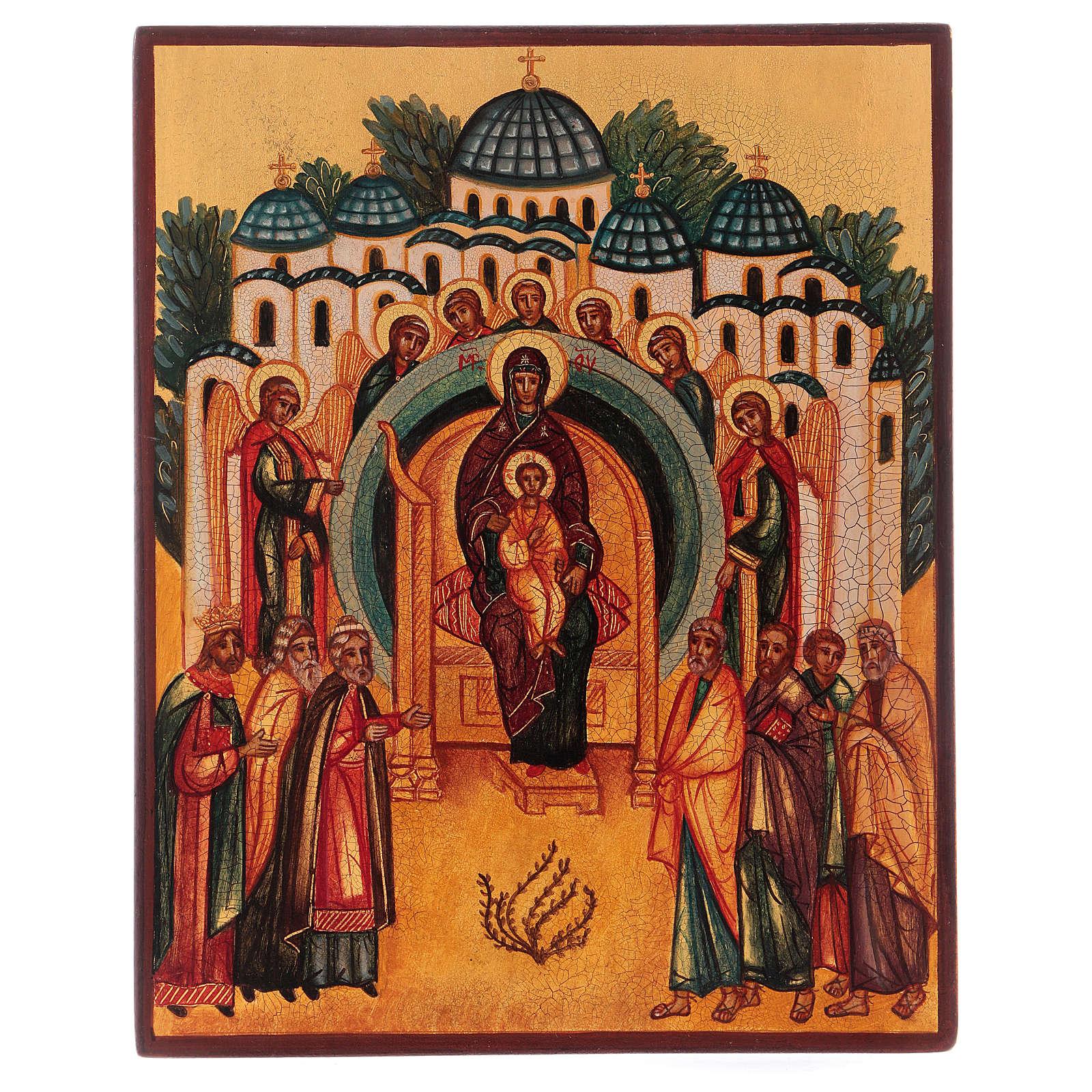 Ikona rosyjska malowana W Tobie raduje się stworzenie 14x10 cm 4