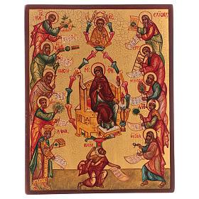 Icona russa dipinta Lodi della Vergine 14x10 cm s1