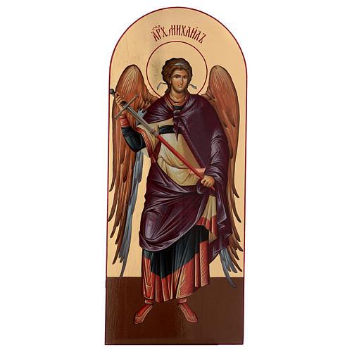 Icône sérigraphiée Archange Michel arc 120x50 cm Russie 1