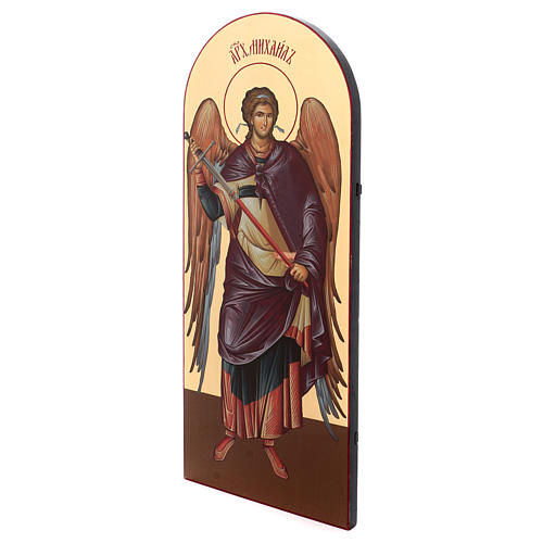 Icône sérigraphiée Archange Michel arc 120x50 cm Russie 2
