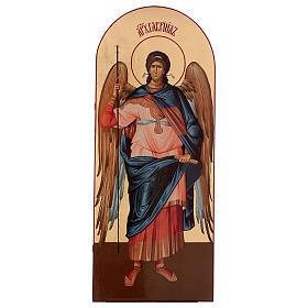 Icônes imprimées sur bois et pierre: Icône sérigraphiée Archange Gabriel arc 120x50 cm Russie