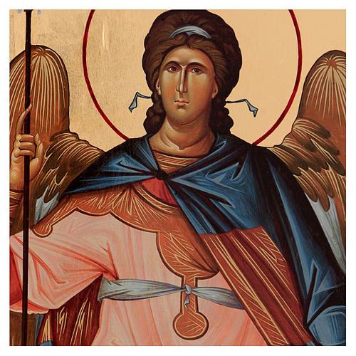 Icône sérigraphiée Archange Gabriel arc 120x50 cm Russie