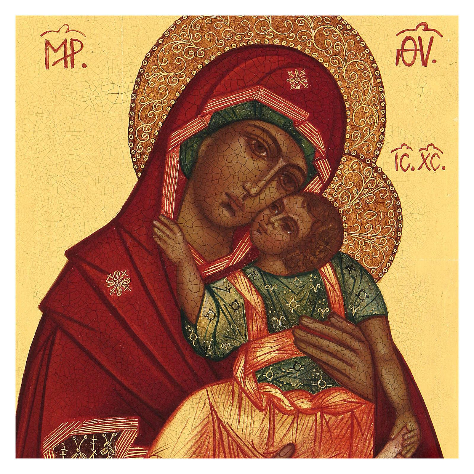 Ícone russo Nossa Senhora de Jachroma 14x10 cm Rússia pintado 4