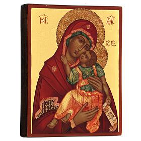 Ícone russo Nossa Senhora de Jachroma 14x10 cm Rússia pintado s3