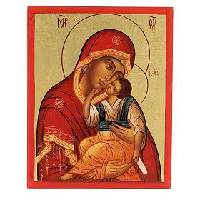 Icona russa Madre di Dio di Jachromskaja 14x10 cm Russia dipinta s1