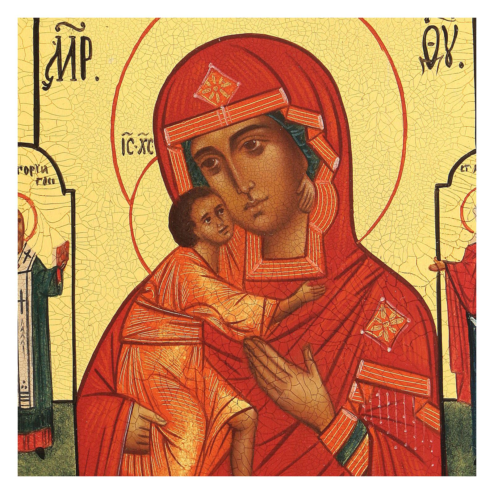 Icona russa Madonna di Fiodor 14x10 cm Russia dipinta 4