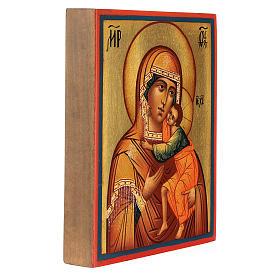 Icona russa Madonna di Tolga 14x10 cm Russia dipinta s3