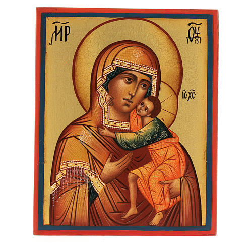 Icona russa Madonna di Tolga 14x10 cm Russia dipinta 1