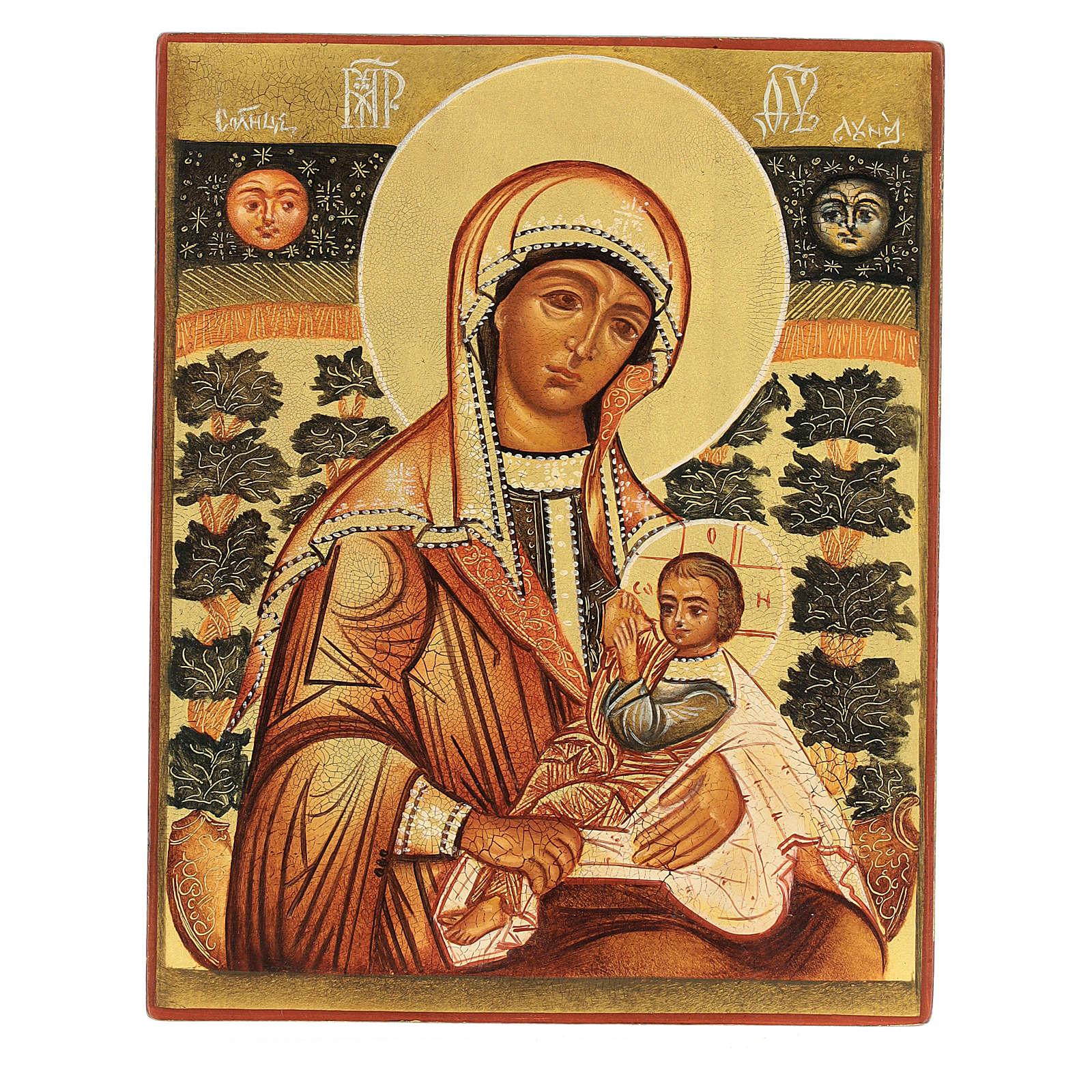 Icona russa Madonna Allattante 14x10 Russia dipinta 4