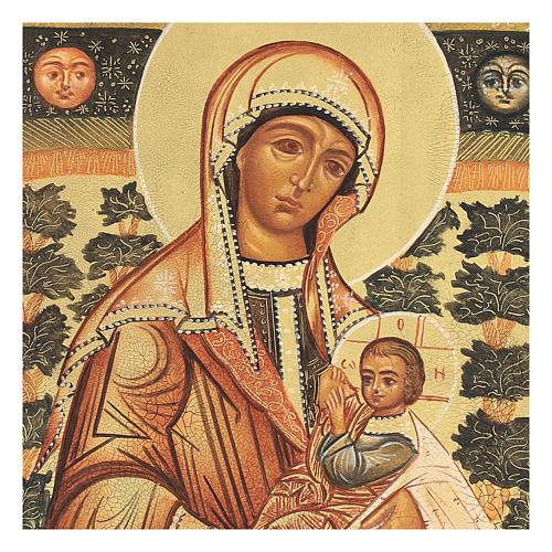 Icona russa Madonna Allattante 14x10 Russia dipinta 2