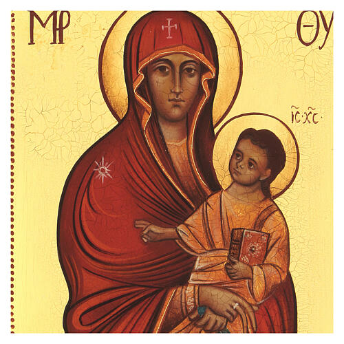 Icona russa dipinta Salus populi romani 14x10 cm 2